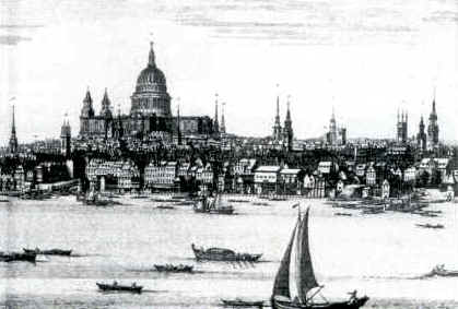 An engraving of the city seen from the South Bank in the 18th Century