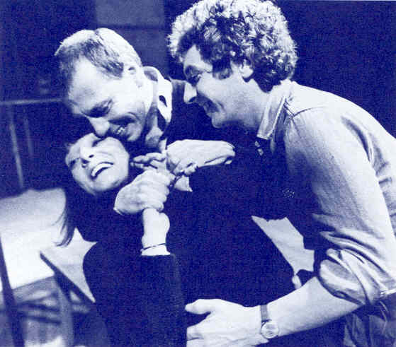 Jane Lapotaire, Kenneth Cranham, James Hazeldine in rehearsal, Kick for Touch, Cottesloe, 1983
