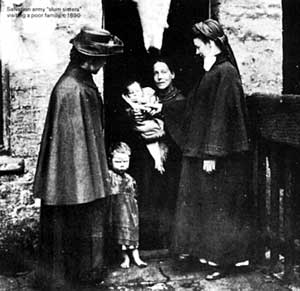 "Salvation army ""slum sisters"" visiting a poor family, c 1890"