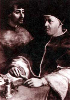 Pope Leo X with his nephew Cardinal Medici, from a painting by Raphael (Pitti Palace, Florence)