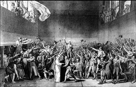 "Robespierre takes ""The Tennis Court Oath"", by David"