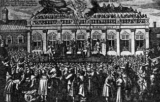 The Execution of Charles I in Whitehall, 1649.  Engraving from a contemporary Dutch news-sheet