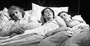 Three in a bed: Cynthia Grenvilie, Maria Pride and Catrin Rhys, Sleepers' Den